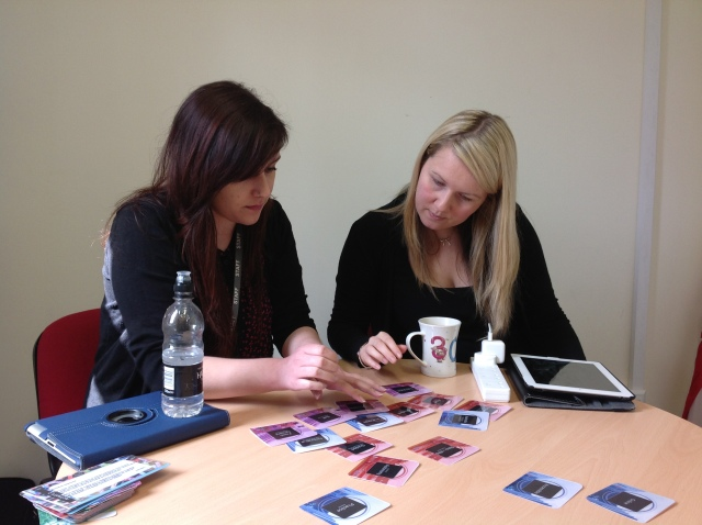 Nazryn and Anna working with OULDI Course Aspects Facilitation Cards