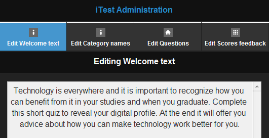 iTest admin screen