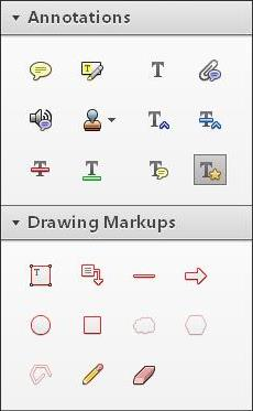 menu for Annotation tools and Drawing Markup tools